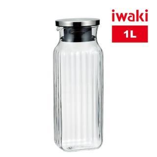 【iwaki】日本品牌不鏽鋼系列方形耐熱玻璃水壺(1000ml)
