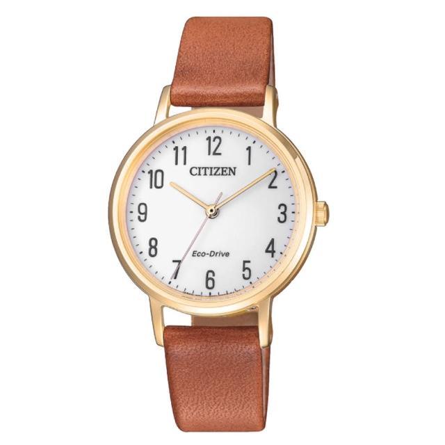 【CITIZEN 星辰】光動能指針女錶 皮革錶帶 白色錶面 防水50米(EM0578-17A)