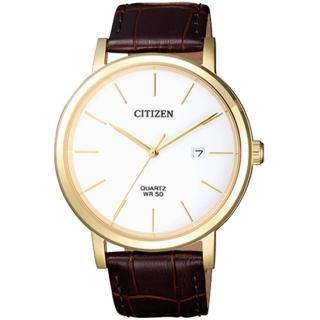 【CITIZEN 星辰】石英男錶 皮革錶帶 白色錶面 防水50米 日期顯示(BI5072-01A)