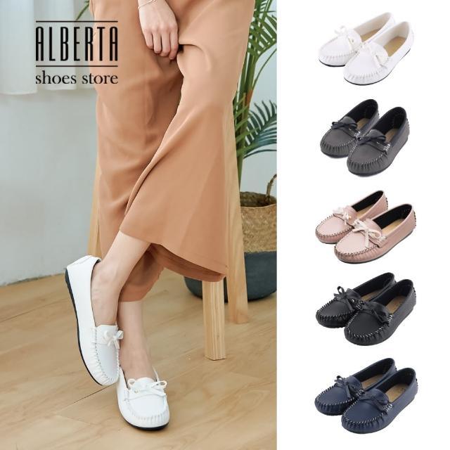【Alberta】蝴蝶結簡約造型平底豆豆鞋莫卡辛鞋款/