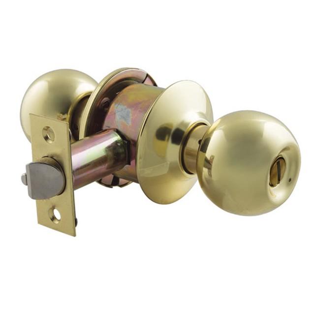 【LockWare 廣安牌 C9710型】無鎖匙 60 mm 喇叭鎖(浴廁鎖 廁所鎖 洗手間用 青銅金色 五金)