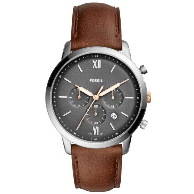 【FOSSIL】時尚三眼男錶 皮革錶帶 深灰色錶面 日期顯示 計時功能(FS5408)
