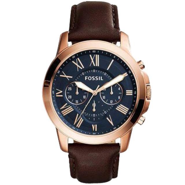【FOSSIL】時尚三眼男錶 皮革錶帶 不鏽鋼錶殼 深灰色錶面 防水50米 計時功能(FS5068)