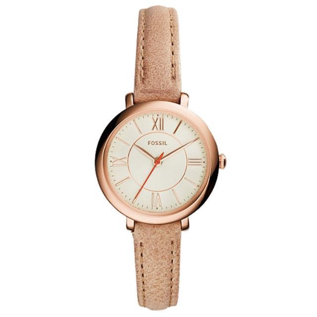 【FOSSIL】氣質石英女錶 皮革錶帶 米白色波紋錶面 防水(ES3802)