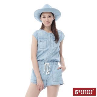 【5th STREET】女牛仔休閒連身褲-漂洗藍