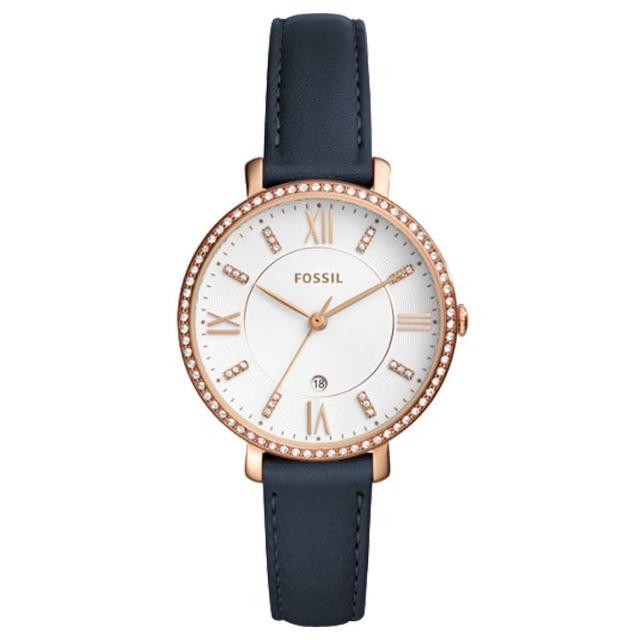 【FOSSIL】閃耀石英女錶 皮革錶帶 波紋白色錶面 防水 日期顯示(ES4291)