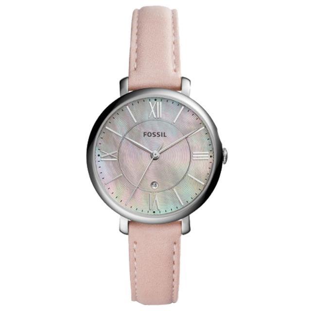【FOSSIL】石英女錶 皮革錶帶 珍珠貝波紋錶面 防水 日期顯示(ES4151)