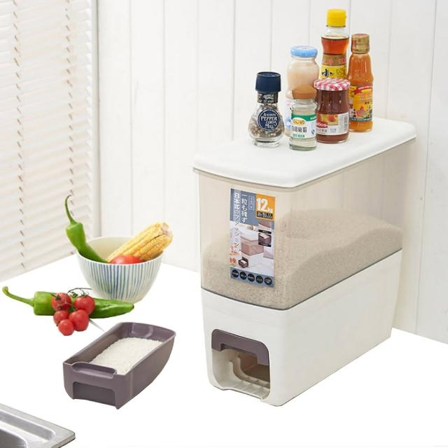【PUSH!】廚房居家用品塑膠計量儲米桶密封防潮防蟲儲米箱雜糧儲存桶12kg(I72)