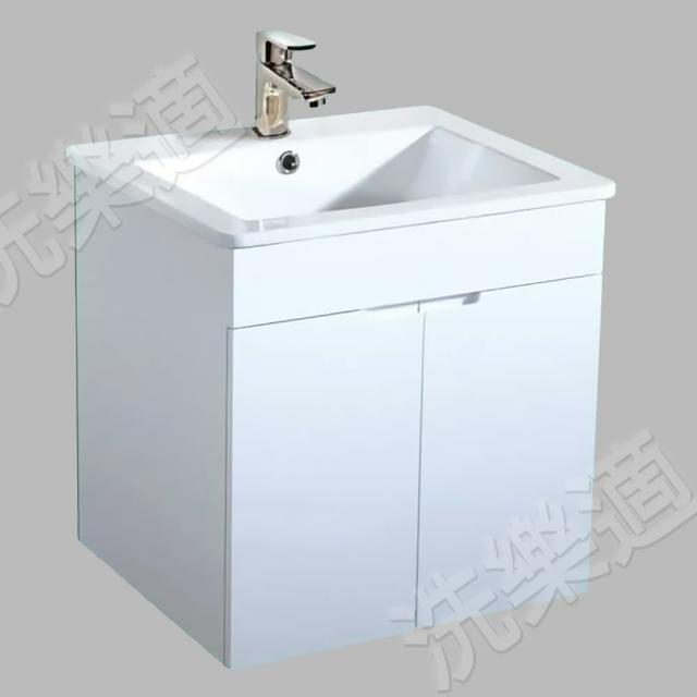 【CERAX】53公分一體成型陶瓷面盆+防水烤漆發泡板雙門浴櫃(防潑水、發泡板、抗污、防潮)