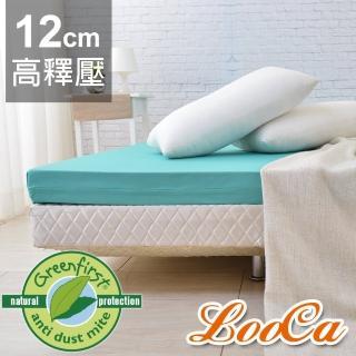 【送棉枕x2】LooCa頂級12cm防蹣+防蚊+超透氣記憶床墊(加大6尺)