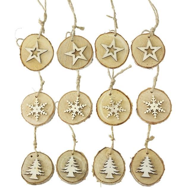 【SPICE】圣诞节木头吊饰12个/组 星星/雪花/圣诞树(天然木头制成/ 独一无二)