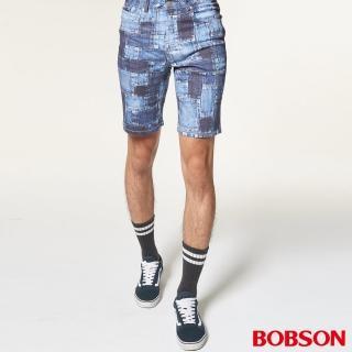 【BOBSON】男款低腰吸濕速乾印花短褲(藍237-53)