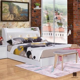 【Hampton 漢妮】愛妮莎系列5尺床組(雙人床/床組/床/床底/床頭/床頭箱/雙人床頭箱/床頭箱附插座)