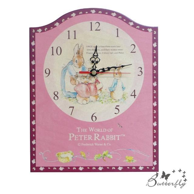 【BUTTERFLY】原廠授權比得兔Peter Rabbit彼得兔古典原木掛鐘-兔媽媽玫瑰壁/座鐘