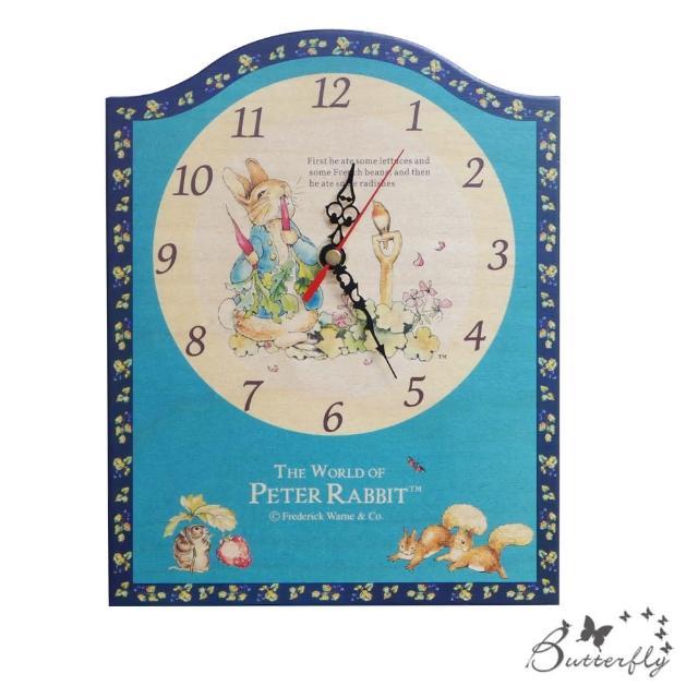 【BUTTERFLY】原廠授權比得兔Peter Rabbit彼得兔古典原木掛鐘-吃蘿蔔藍莓壁/座鐘