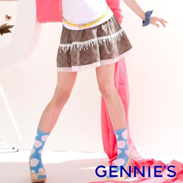 【Gennies 奇妮】復古俏麗一體成型蕾絲短裙(墨綠G4316)