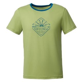 【Wildland 荒野】男彈性棉感抗UV印花上衣(淺綠色)