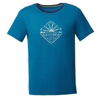 【Wildland 荒野】男彈性棉感抗UV印花上衣(土耳其藍)