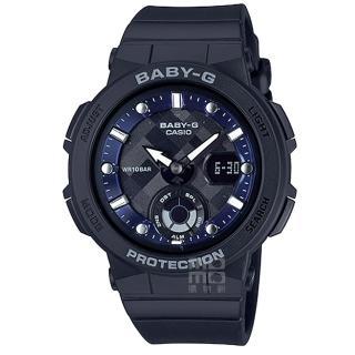【CASIO 卡西歐】卡西歐Baby-G 數字鬧鈴雙顯錶-黑(BGA-250-1A)