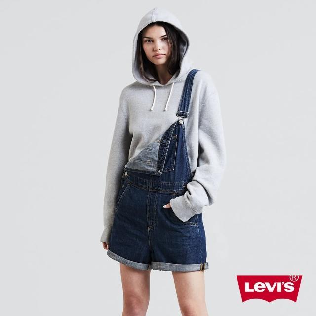 【LEVIS】吊帶褲 女款 / 牛仔短褲 / 藍色