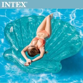 【INTEX】美人魚貝殼浮排-杯架設計_191*191*25cm_適用:成人(57255)