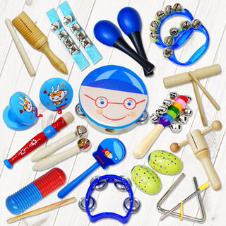 【美佳音樂】奧福打擊樂器/兒童樂器 16件組-藍色男孩(含袋)