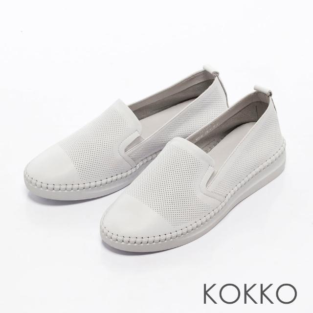 【KOKKO集團】百變主流全真皮微厚底休閒鞋(搶眼白)