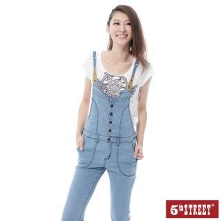 【5th STREET】女牛仔連身9分褲-拔淺藍