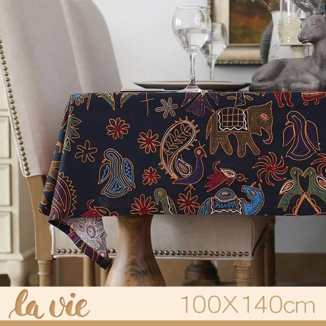 【La Vie】民族風大象棉麻桌布瑪雅個性桌布(100X140cm)