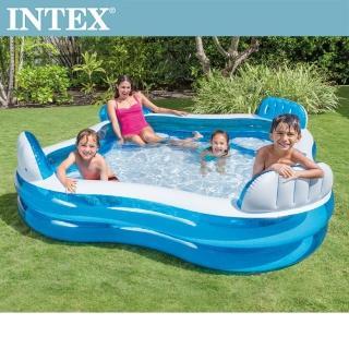 【INTEX】藍色透明有靠墊戲水游泳池229x229x66cm_990L_適用3歲+(56475N)