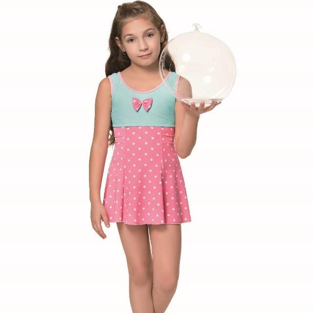 【SAIN SOU 聖手牌】泡湯 SPA女童連身裙泳裝附泳帽(A88808)