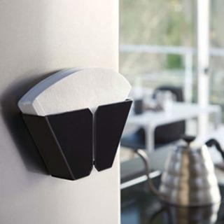 【Homely Zakka】工藝美感磁吸式鐵製咖啡濾紙收納盒收納架(墨黑)
