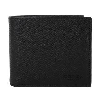 【COACH】壓印LOGO 荔枝紋皮革附可抽式名片8卡短夾(黑)