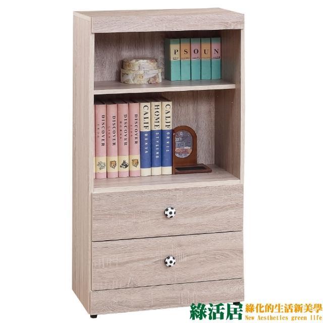 【綠活居】辛克  時尚2尺木紋二抽二格書櫃/收納櫃