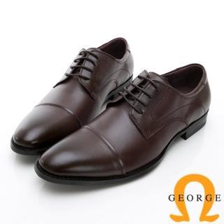 【GEORGE 喬治皮鞋】時尚職人系列 經典真皮小圓楦紳士鞋皮鞋-酒紅