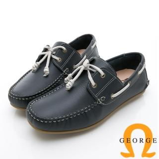 【GEORGE 喬治皮鞋】水洗系列 素面繩結大底休閒鞋-藍