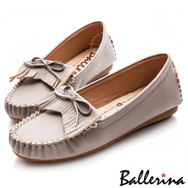 【Ballerina】小資女孩系列 ‧ 蝴蝶流蘇莫卡辛微坡跟健走鞋(灰)
