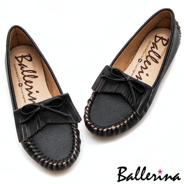 【Ballerina】小資女孩系列 ‧ 蝴蝶流蘇莫卡辛微坡跟健走鞋(黑)