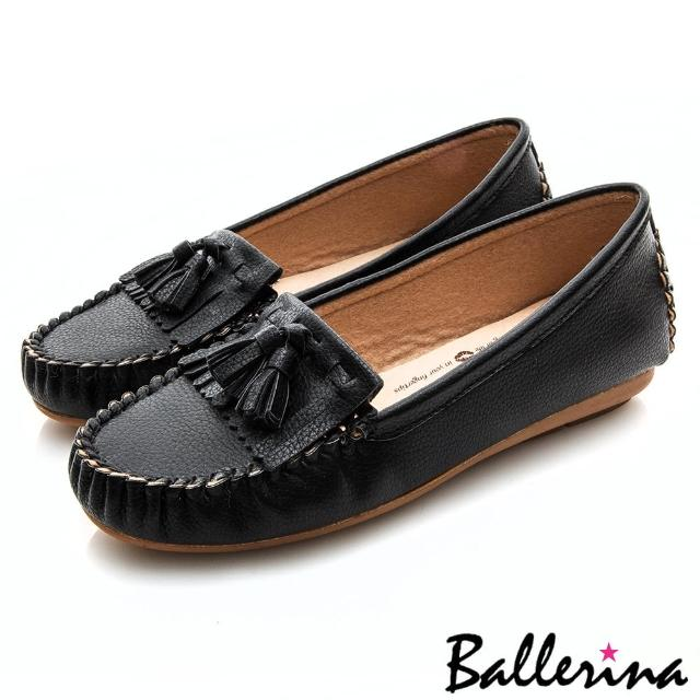 【Ballerina】小資女孩系列 ‧ 垂墜流蘇莫卡辛微坡跟健走鞋(黑)