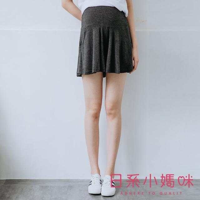 【AILIAN 日系小媽咪】舒適柔棉休閒短褲裙 可調式瑜珈腰圍 M、XL(孕婦褲)
