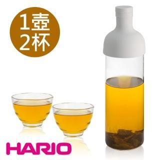 【HARIO】750ml酒瓶冷泡茶壺及雲吞耐熱杯組