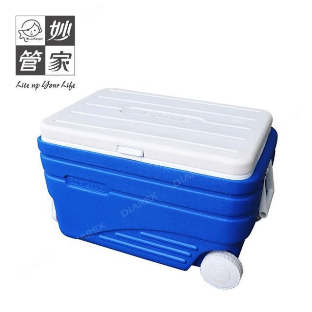 【妙管家】COOLER BOX 拖輪冰桶 80L HKI-722A(可提可拖、輕鬆省力)