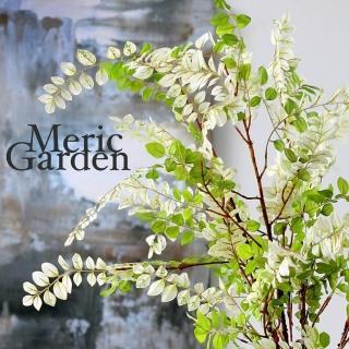 【Meric Garden】北歐風格居家裝飾高仿真白綠紫藤葉(110cm單支)
