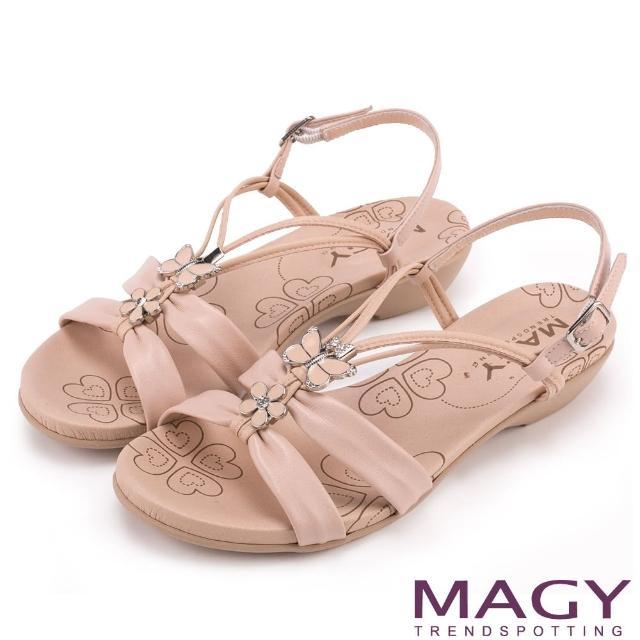 【MAGY】夏日甜心 蝴蝶寶石Y字踝帶低跟涼鞋(粉紅)