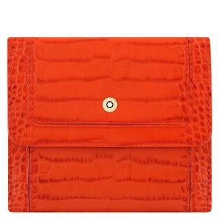 【MONTBLANC 萬寶龍】小牛皮鱷魚紋壓釦中夾(橘紅色)