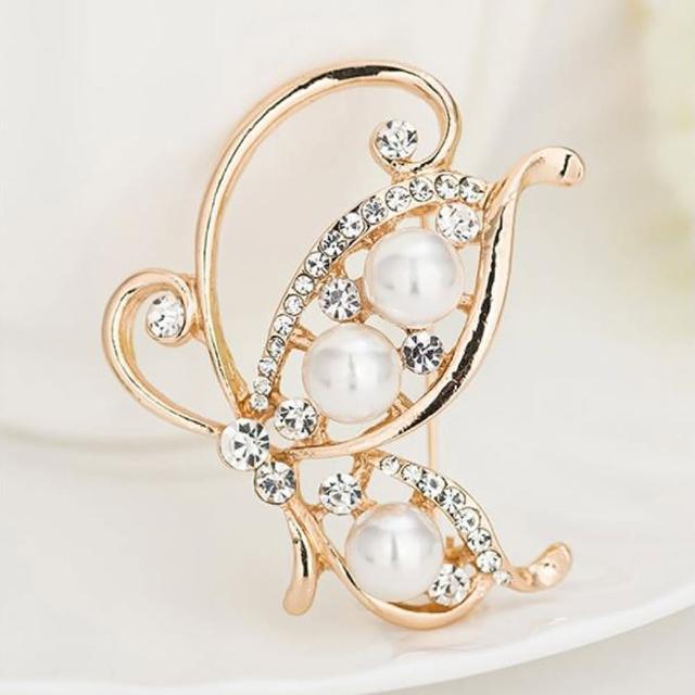 【Angel】月光叢林復古百搭蝴蝶動物鑲鑽珠花寶石胸針別針兩用(多種款式顏色可選)