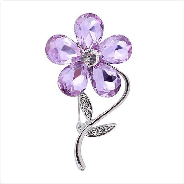 【Angel】自然女神氣質優雅植物花草鑲鑽珠花寶石胸針別針兩用(多種款式顏色可選)