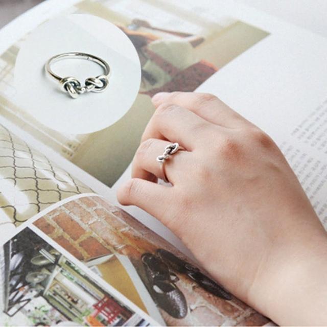 【梨花HaNA】韓國復古泰銀打結個性開口戒指中性