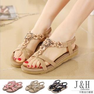 【J&H collection】波希米亞風花朵涼鞋(粉色 / 卡其 / 黑色)