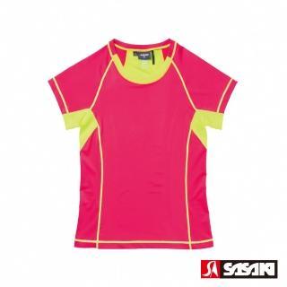 【SASAKI】高彈力機能性運動緊身圓領短衫-女-中桃紅/艷黃